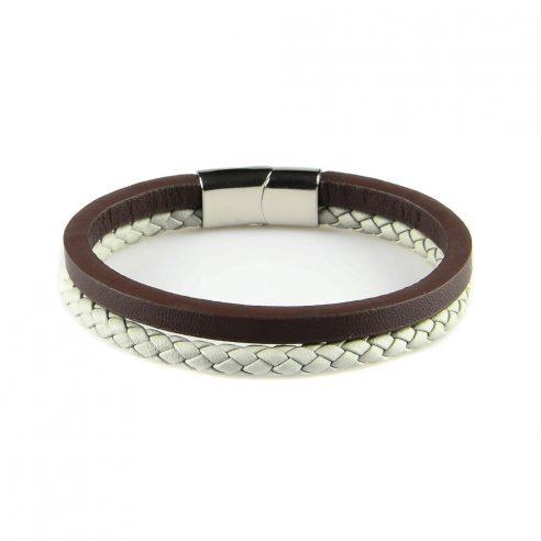 Bracelet en cuir pour homme avec une lanière en cuir tressé gris clair et une en cuir lisse marron.
