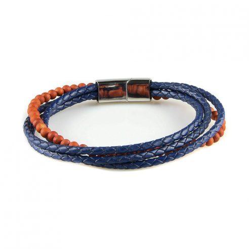 Bracelet pour homme composé de trois lanières de cuir bleu et d'une de pierres d'agate feu naturelles.