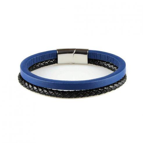 Bracelet en cuir pour homme avec une lanière bleue et une noire.