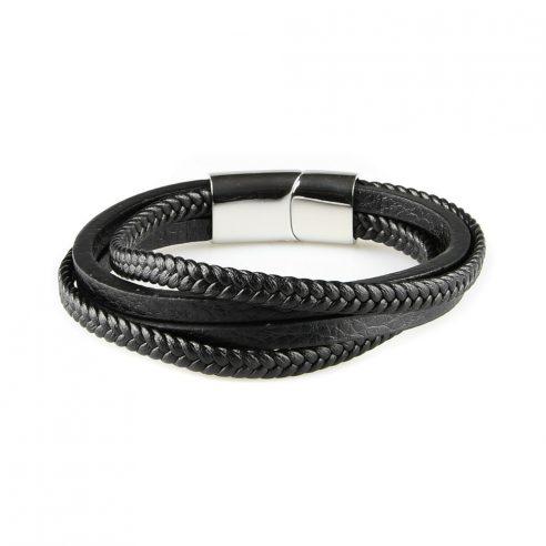 Bracelet pour homme composé de deux lanières de cuir noir tressé et de deux lanières de cuir noir lisse.