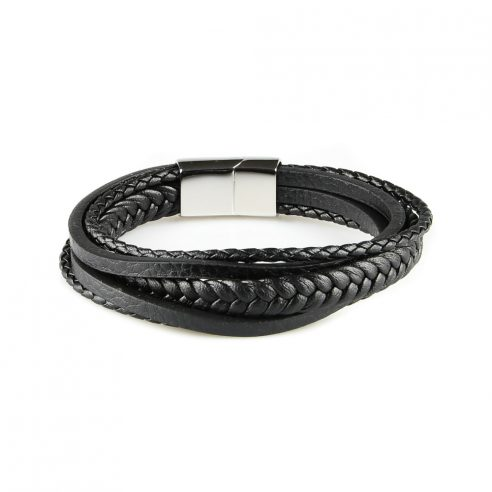 Bracelet pour homme composé de trois lanières de cuir noir tressé et de deux lanières de cuir noir lisse.