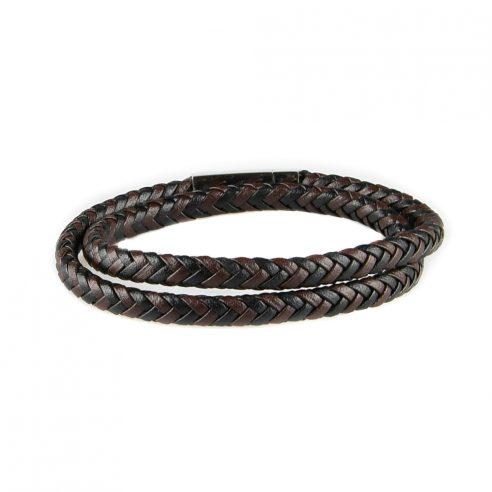 Bracelet multi-tours pour homme en cuir tressé noir et marron.
