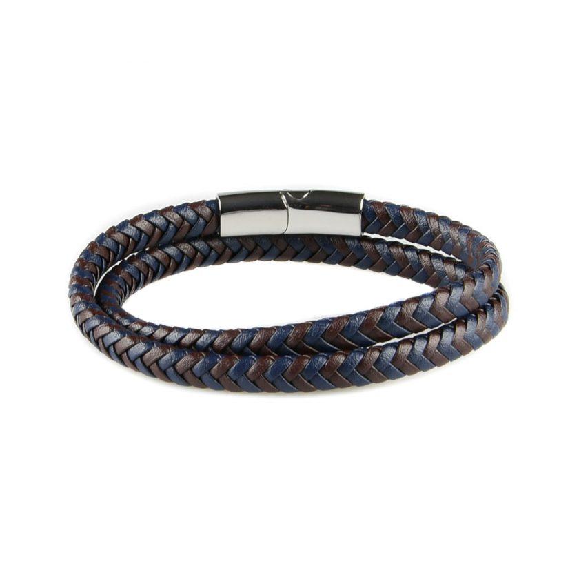 Bracelet multi-tours pour homme en cuir marron et bleu tressé.