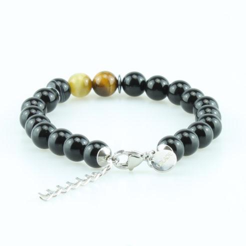 Bracelet pour homme composé de perles d'onyx noir brillantes, de perles œil de tigre et d'une perle d'agate rayée.