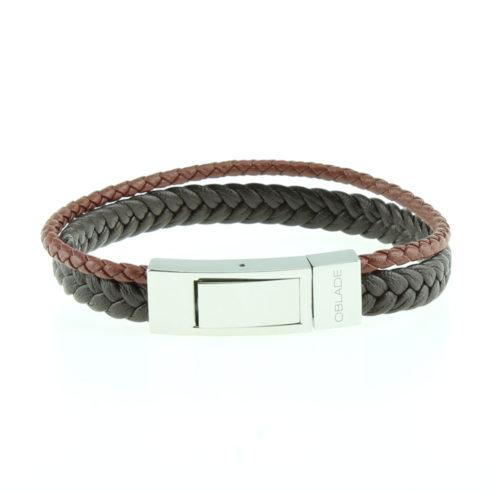 Bracelet pour homme composé de deux lanières de cuir marron tressé, une fine et une plus large.