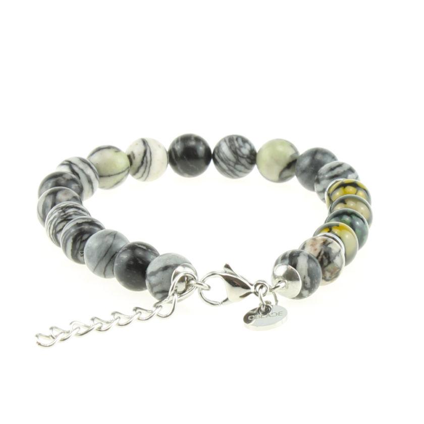 Bracelet pour homme composé de perles d'agate noire striées naturelles.