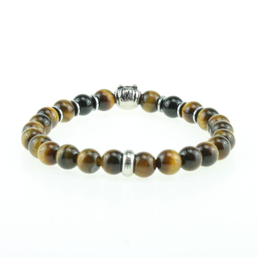 Bracelet pour homme composé d'une élégante tête de lion couleur argent et de perles œil de tigre naturelles.