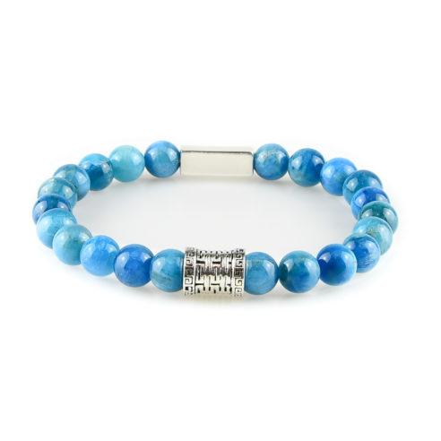 Bracelet homme en pierres d'apatite bleue et argent 925