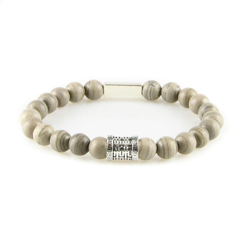 Bracelet homme en pierre de jaspe à bandes grises et argent 925