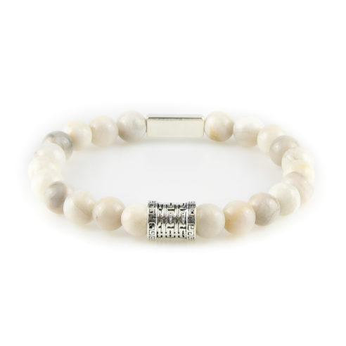 Bracelet homme en pierre d'agate dentelle blanche et argent 925