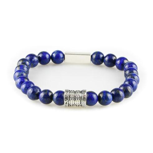 Bracelet homme en pierre de lapis lazuli bleu et argent 925