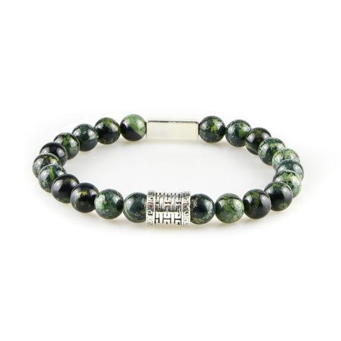 Bracelet homme en jaspe kambaba vert et argent 925