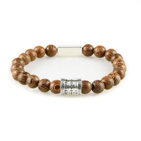 Bracelet homme en perles de bois wengé et argent 925