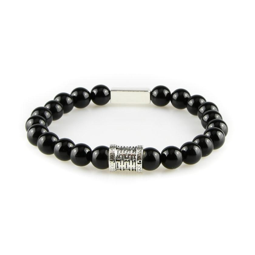 Bracelet homme en pierre de tourmaline noire et argent 925