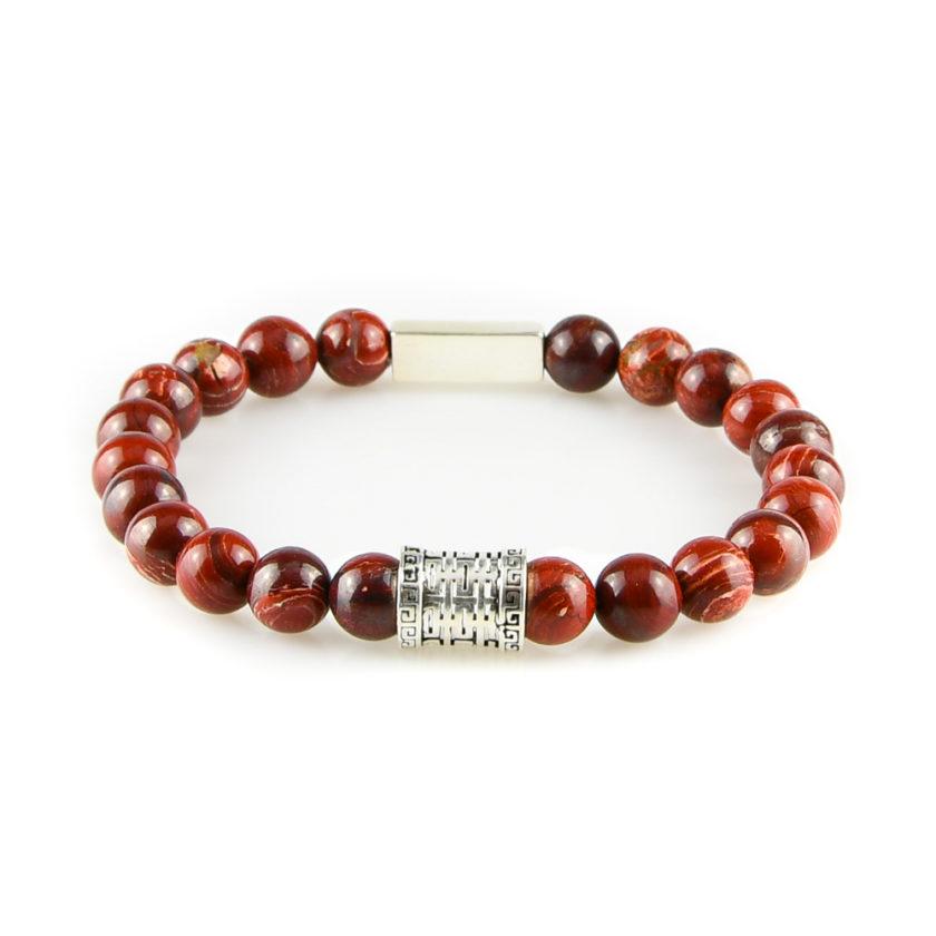 Bracelet homme en pierre de jaspe rouge et argent 925
