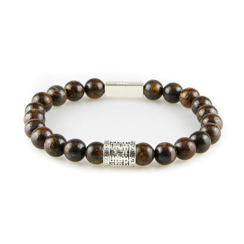 Bracelet homme en pierre bronzite marron et argent 925