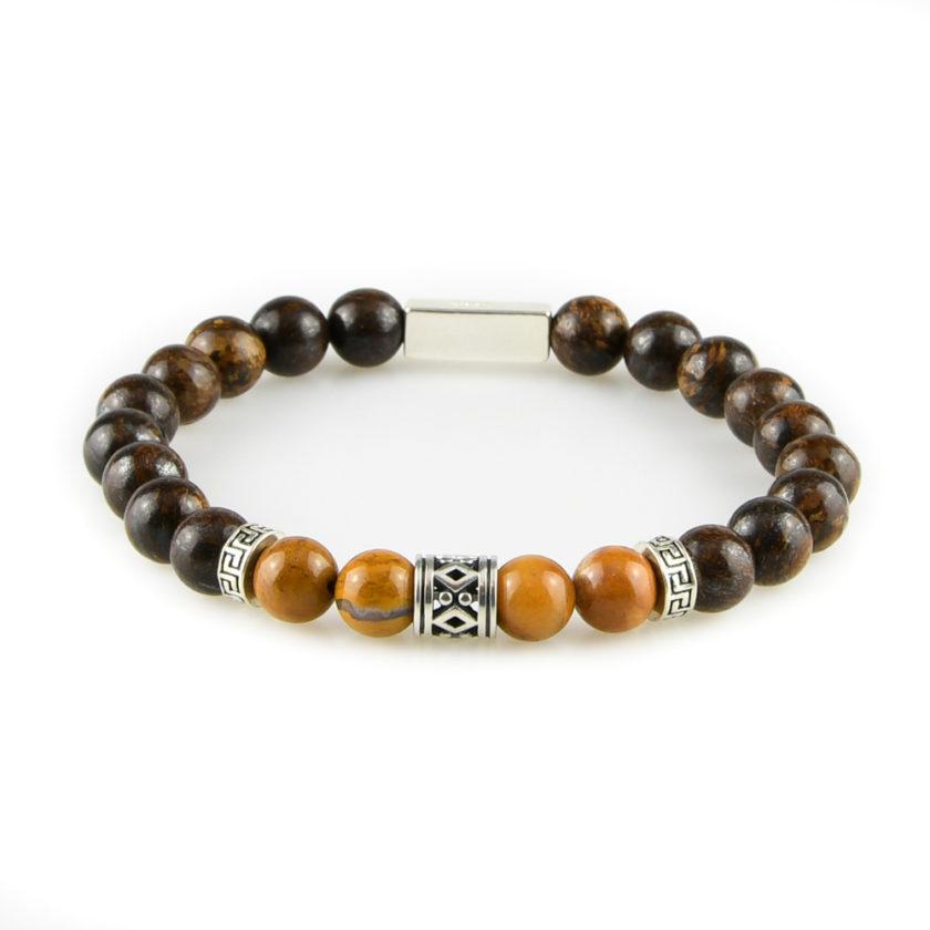 Bracelet homme en pierres bronzite marron, bois pétrifié jaune et argent 925