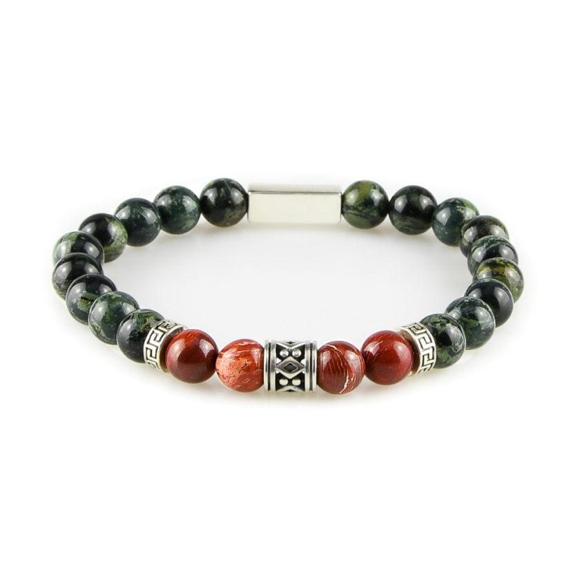 Bracelet homme en pierre de jaspe Kambaba, jaspe rouge et argent 925