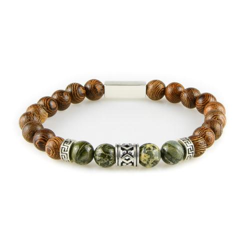 Bracelet homme en perles de bois Wengé, jaspe vert forêt tropicale et argent 925