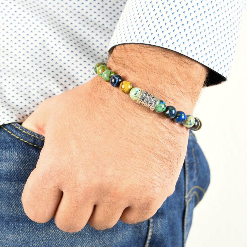 Bracelet homme en pierres de chrysocolle et argent 925