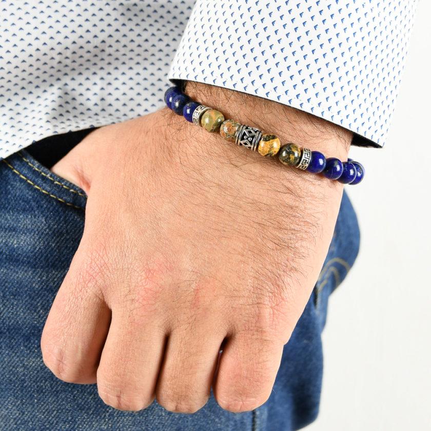 Bracelet homme en pierre de lapis lazuli, bois pétrifié jaune et argent 925