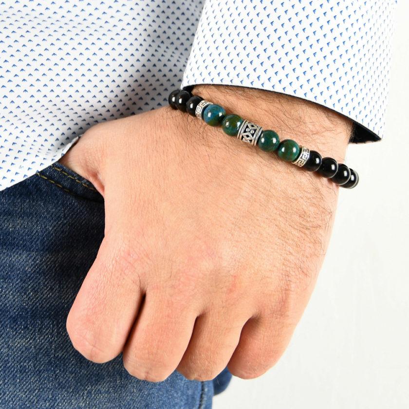 Bracelet homme en pierre de tourmaline, jaspe apatite et argent 925