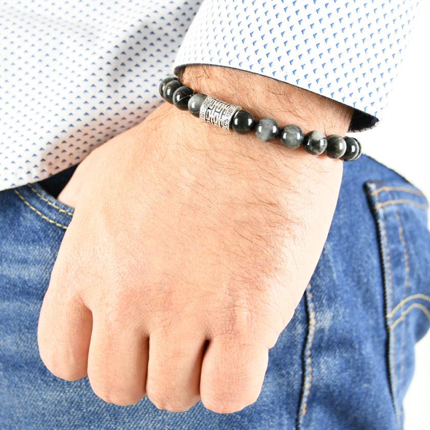 Bracelet homme en œil de faucon et argent 925