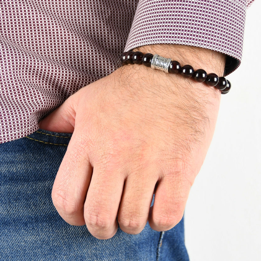 Bracelet homme en pierres de grenat rouge et argent 925