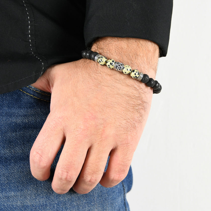 Bracelet homme en pierre de tourmaline, opal mousse et argent 925