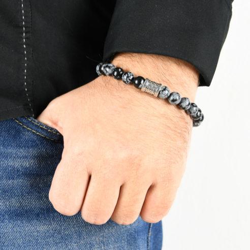 Bracelet homme en obsidienne dorée et argent 925