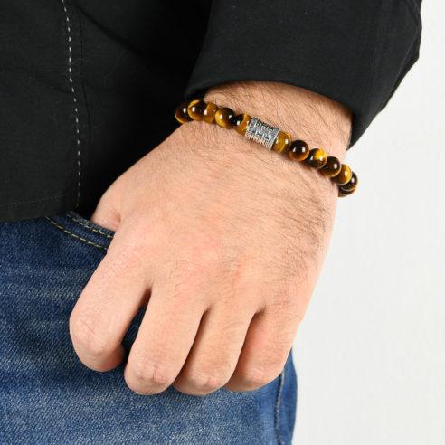 Bracelet homme en pierre œil de tigre marron et argent 925
