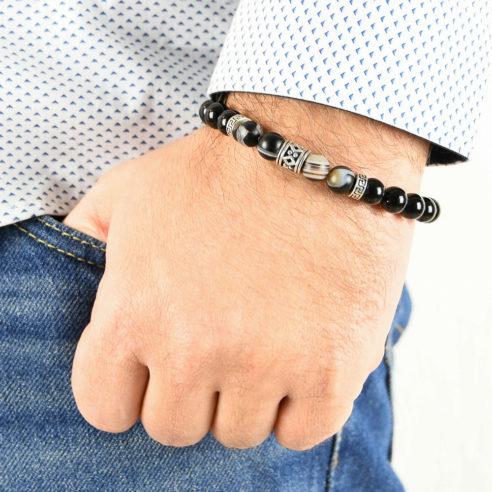 Bracelet homme en pierres de tourmaline, agate rubanée noire et marron et argent 925