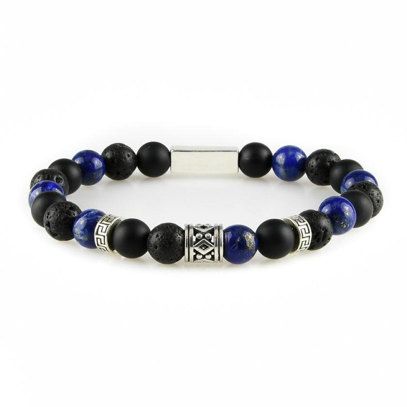 Bracelet homme en pierres de lave, d'onyx dépoli, de lapis lazuli et argent 925