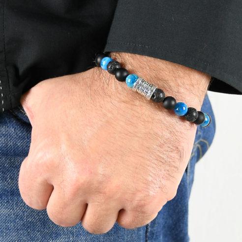 Bracelet homme en pierres de lave, d'onyx dépoli, d'apatite bleue et argent 925