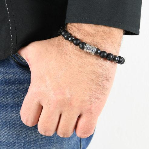 Bracelet homme en pierres de lave, d'onyx dépoli, d'hématite et argent 925