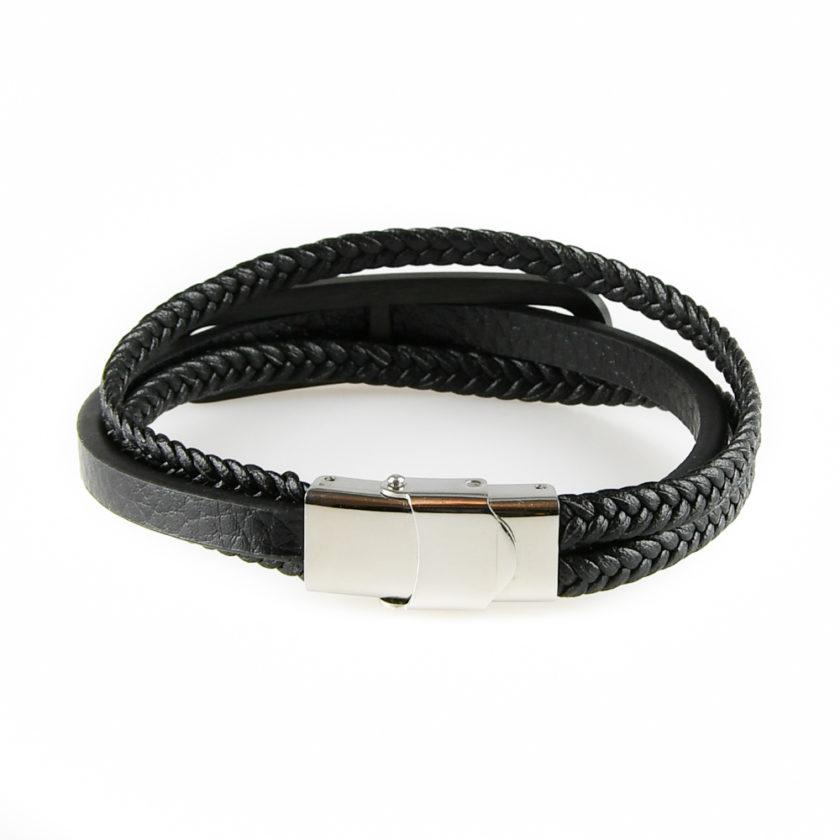 Bracelet pour homme avec une lanière de cuir noir lisse et deux de cuir noir tressé.