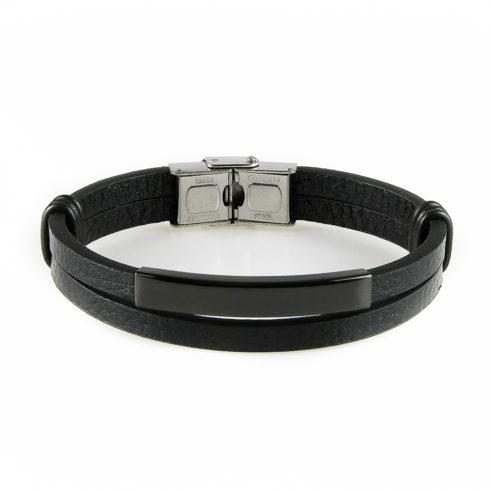 Bracelet pour homme avec deux lanières de cuir lisse noir et une élégante pièce en acier inoxydable noir.