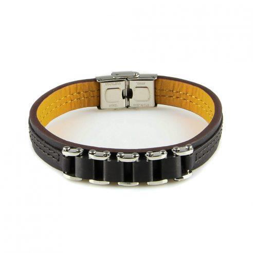 Bracelet pour homme en cuir lisse marron avec des inserts en silicone noir sur la face avant.