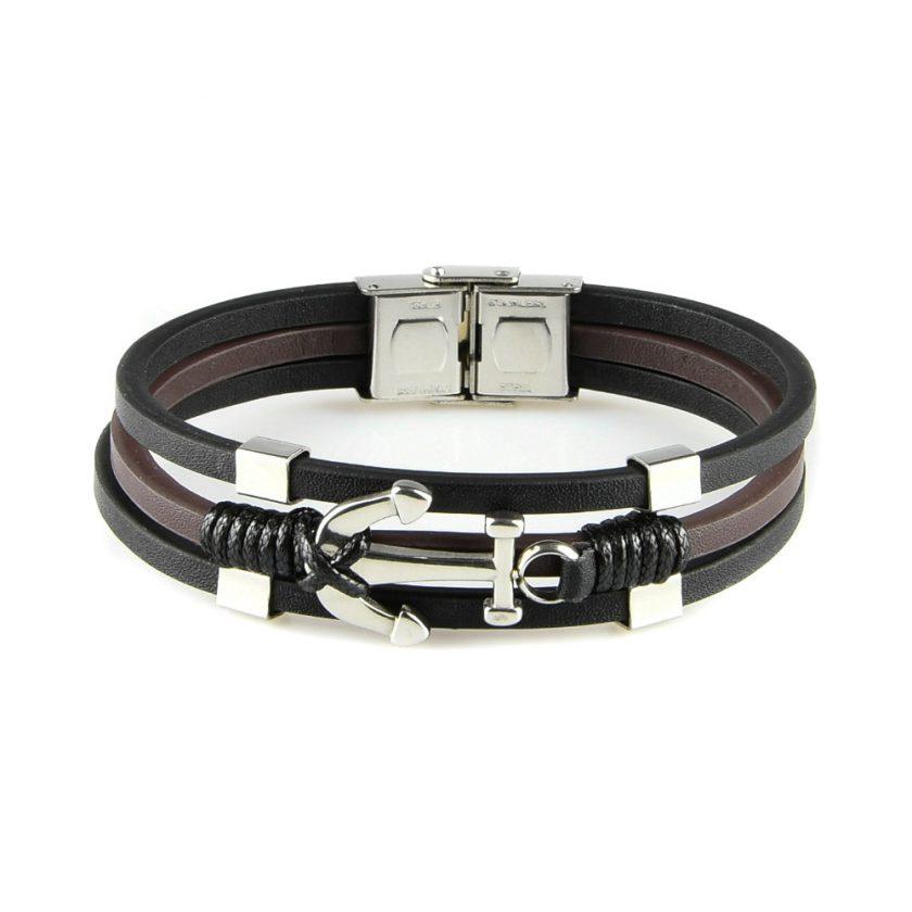 Bracelet pour homme en cuir lisse noir et marron avec ancre en acier inoxydable.