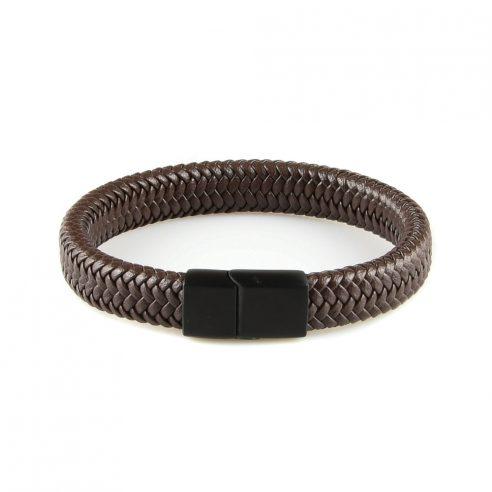 Très élégant bracelet pour homme en cuir marron tressé.