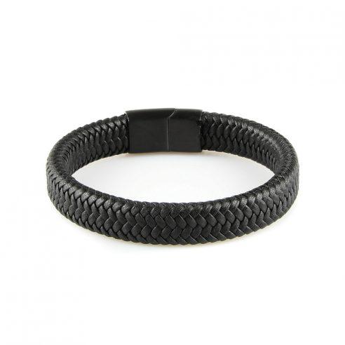 Bracelet homme en cuir tressé noir et fermoir acier noir