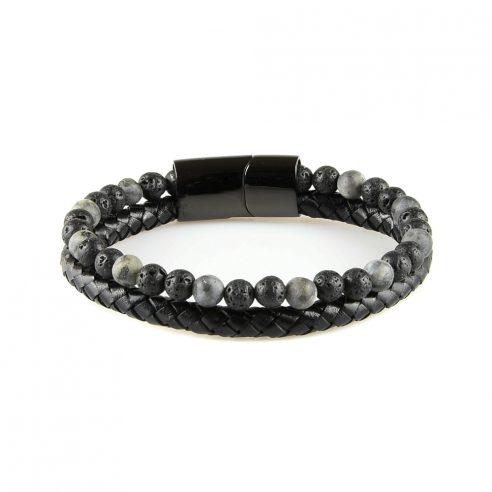 Très élégant bracelet pour homme en cuir noir avec des pierres de lave naturelles.