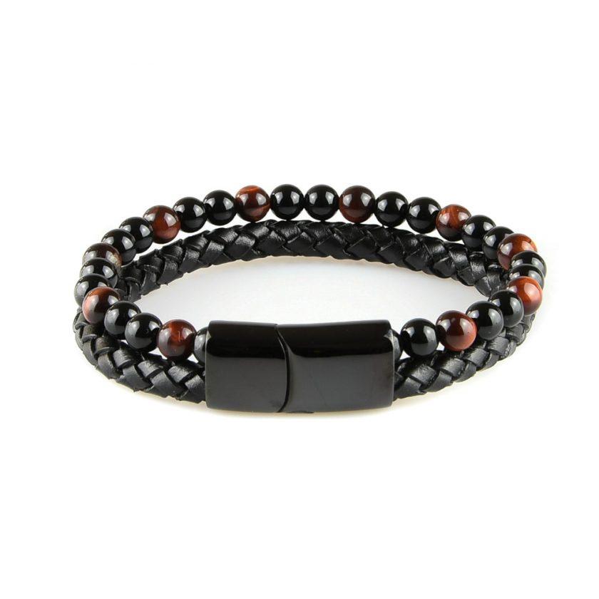 Très élégant bracelet pour homme en cuir noir avec des pierres d'onyx et d'œil de tigre rouge naturelles.