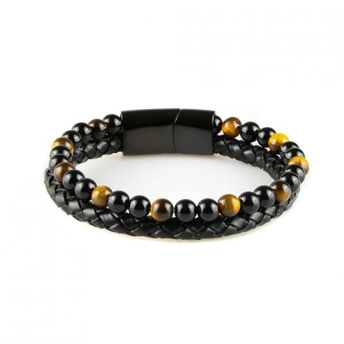 Bracelet pour homme en cuir noir avec des pierres œil de tigre naturelles.