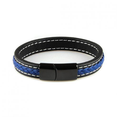 Très élégant bracelet pour homme en cuir noir et cuir tressé bleu.