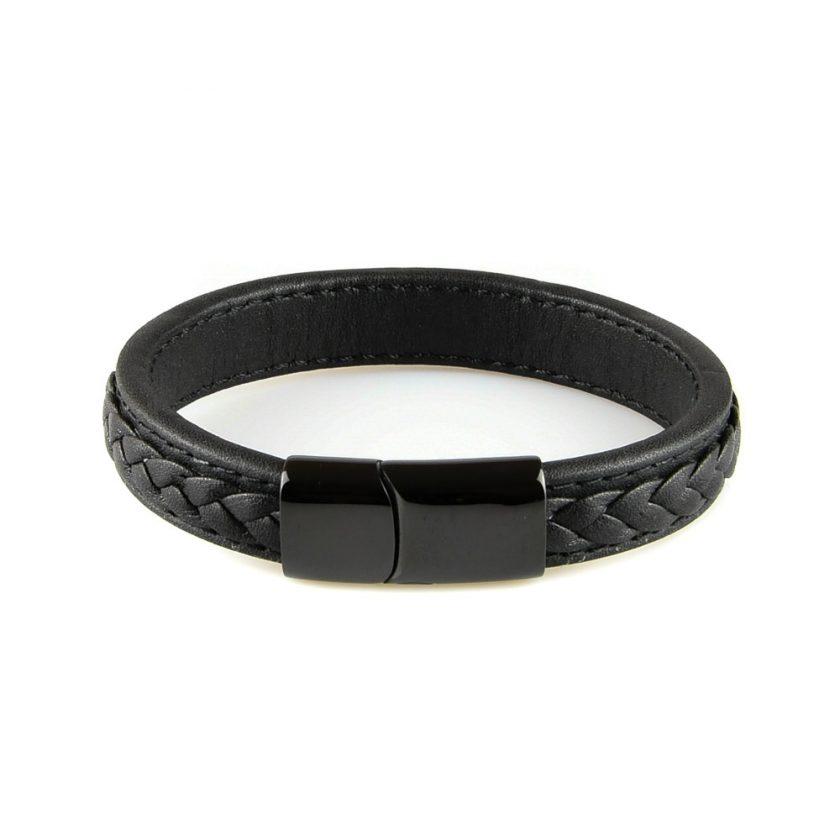 Bracelet homme en cuir tressé noir
