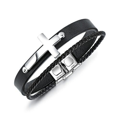 bracelet homme en cuir avec croix en acier inoxydable