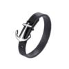 Bracelet pour homme en cuir noir avec une élégante ancre en acier inoxydable couleur argent.
