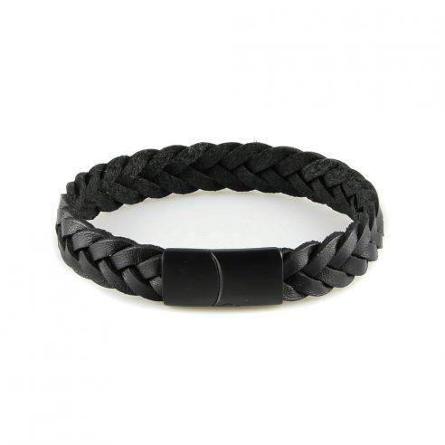 Bracelet pour homme en cuir noir tressé.