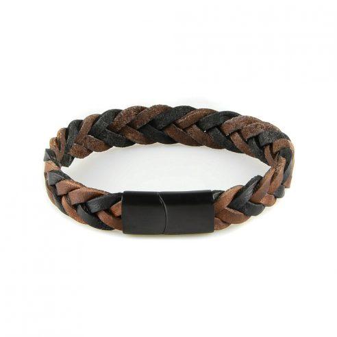Bracelet pour homme en cuir marron tressé.